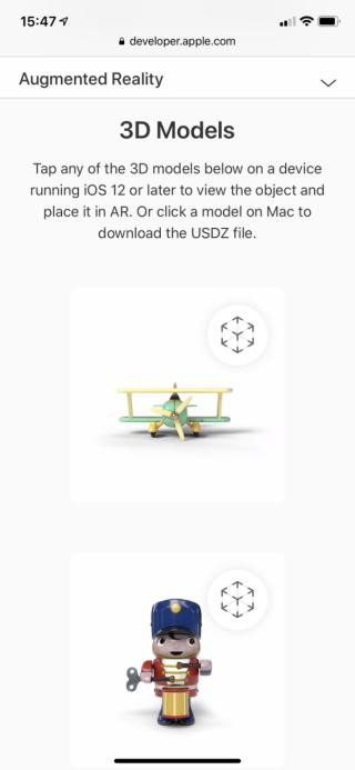 AR Quick Look 網頁有更多 AR 物件示範