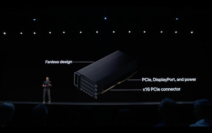 顯示卡部分用上名為 MPX 模組設計,每部機最高可以支援兩張 Radeon Vega II Duo 運作。