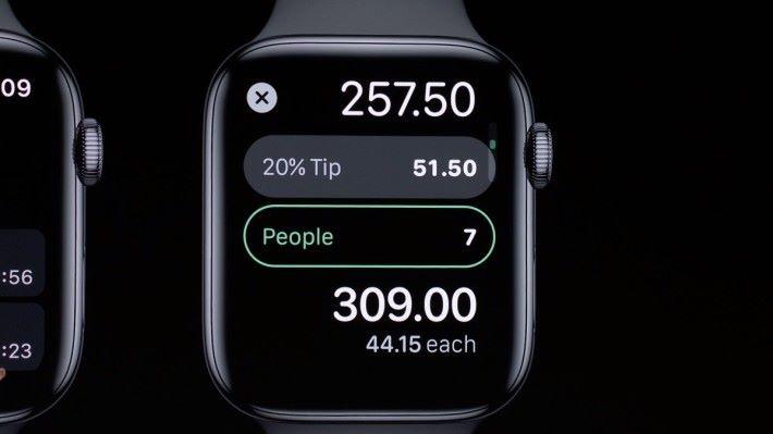 watchOS 6 不單加入計算機 App ,這計算機還具備計算貼士及分單功能,比拿出手機更方便。