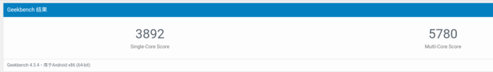 進行 Geekbench 4 的 CPU 跑分,單核成績優異,多核成績亦達此 CPU 應有水平。