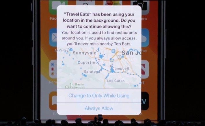 不單止不時跟用戶確認是否繼續批准使用位置資料,還會以地圖來顯示已取得的資料。