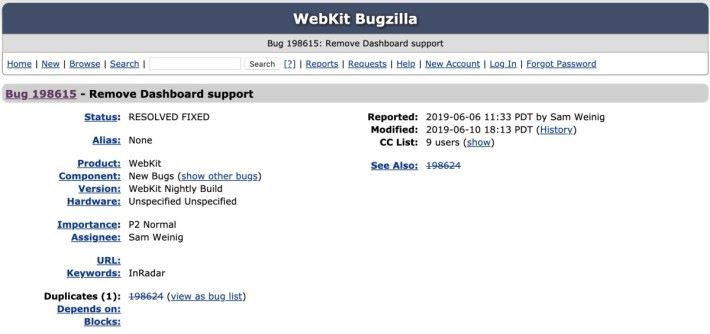 WebKit 也在專案的臭蟲報告中宣布移除對 Dashboard 的支援