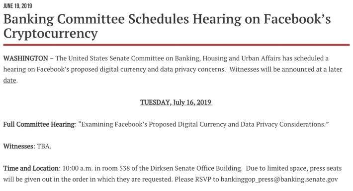 參議院銀行、住房和城市事務委員會公布 7 月 16 日召開關於 Libra 的公審公聽會。