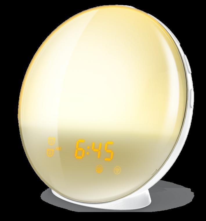 外型圓圓的「智能喚醒燈」,既是 FM 收音機,又是鬧鏡,更是床頭燈。
