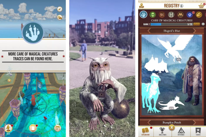 在手機地圖可以看到魔法痕跡,而在 AR 模式下可以看到不同的魔法生物。