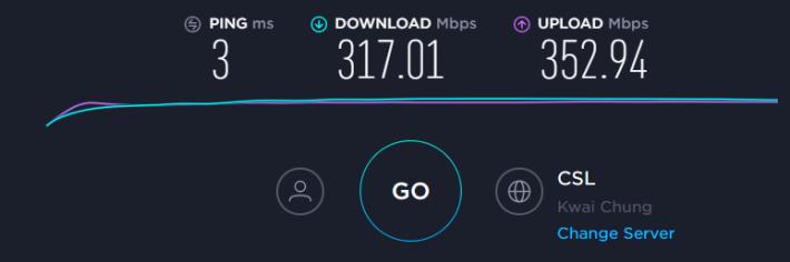 經 DIR-2680 上網之互聯網速度。