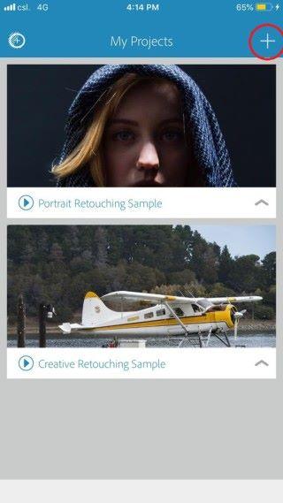 啟動程式後,按右上角加號(見左圖紅圈)匯入照片。