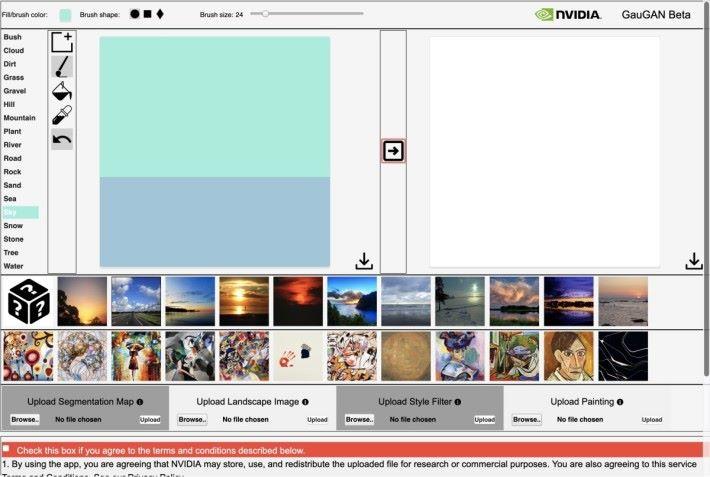 GauGAN 互動示範的界面,左邊是塗鴉區,下邊可以選擇基本風景和描繪風格,右邊就是 AI 創作的結果。