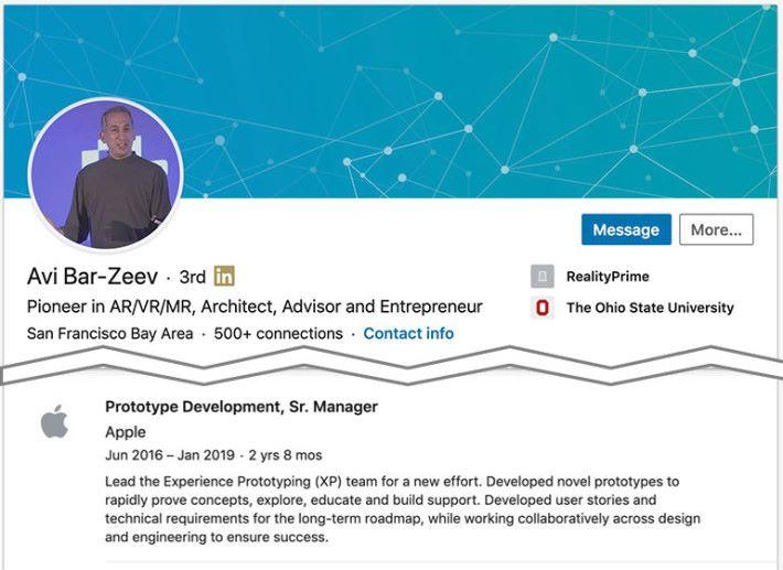 領導 Apple AR/VR 眼鏡原型開發團隊的高級經理 Avi Bar-Zeev 透過 LinkedIn 間接承認 1 月已離開了 Apple