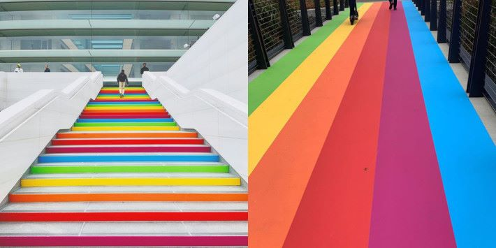 雖然現在 Apple 沒有使用彩虹蘋果標誌,不當年的六色彩虹槪念仍可在新建的 Apple Park 見到。