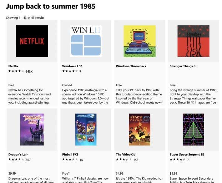 Microsoft Store 「 Jump back to summer 1985 」軟件集集合了一堆懷舊遊戲和電影,當中不少都能在香港下載使用。