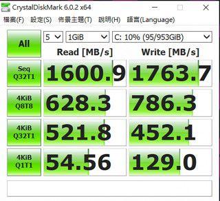 使用 1TB 的 SSD 硬碟,CineBench 表現也不俗。