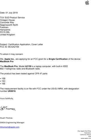 在 FCC 紀錄中找到 Apple 註冊 A2159 的郵件,證實是一部 MacBook Pro 。