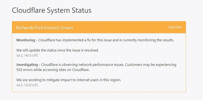 CloudFlare 指服務出現網絡效能問題(Network Performance Issues)。