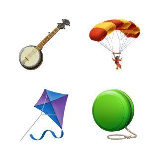 新增的遊玩工具:五弦琴、滑翔降傘、風箏和搖搖