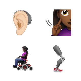 傷殘人士主題 Emoji 一樣有不同膚色和性別