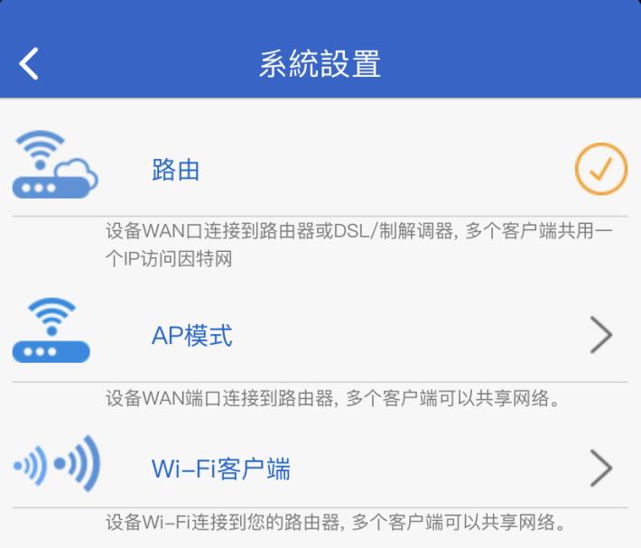 支援直駁 Modem 的 Router 模式、插 LAN 線放 Wi-Fi 的 AP 模式,以及收 Wi-Fi 出 LAN 線的 Bridge 模式。