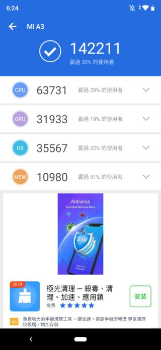 採用 Snapdragon 655 處理器,效能不算出色,因此 AnTuTu 得分只有 14 萬多。