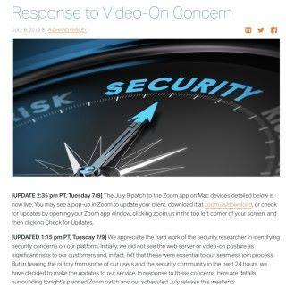 Zoom 本來堅持使用網頁伺服器存在很大風險,但聽取了網絡保安社群的意見後,決定推出修訂移除伺服器。