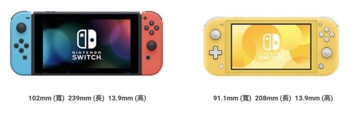 Nintendo Switch Lite (右)比 Switch 小一截,屏幕也縮小至 5.5 吋,解像度維持 1280x720 。