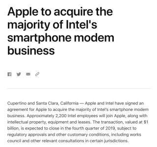 Apple 正式宣布收購 Intel 的手機 Modem 晶片業務