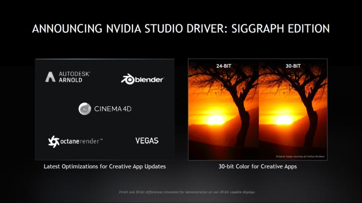 同場發表了 NVIDIA Studio Driver,可支援 30-bit Color。