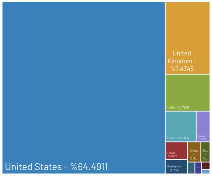 按國家劃分失竊信用咭,美國佔大多數。