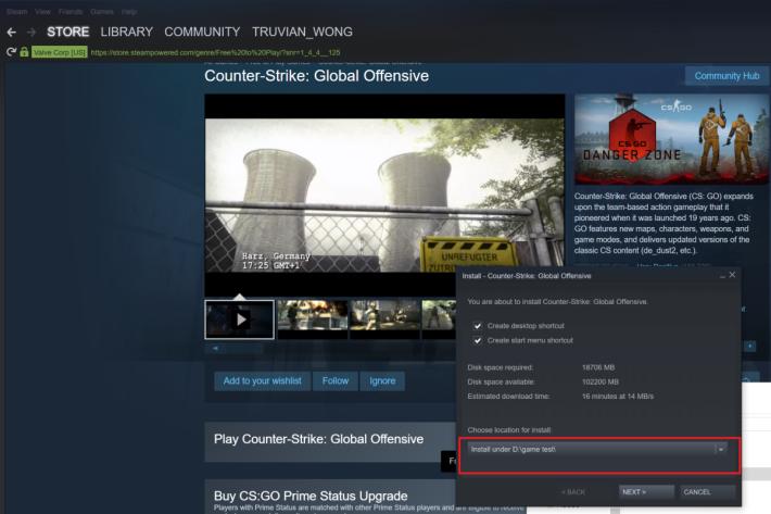 直接將遊戲下載及安裝至 iSCSI LUN D:\。