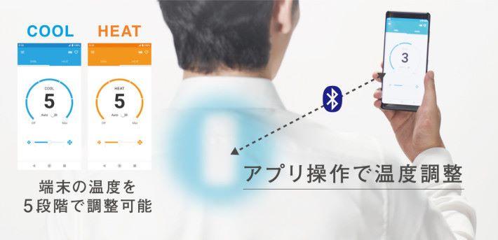 透過手機程式除了可調整 5 段溫度外,還可以設定風力和冷暖溫度循環。