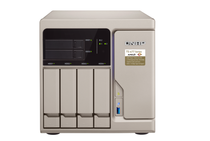 以 TS-677 為例,它具備 M.2 及 2.5 吋 SSD 槽。