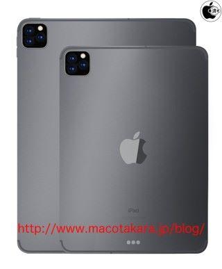 傳聞中,11 吋和 12.9 吋的 iPad Pro 都會備有 3 鏡頭(來源: Macotakara )