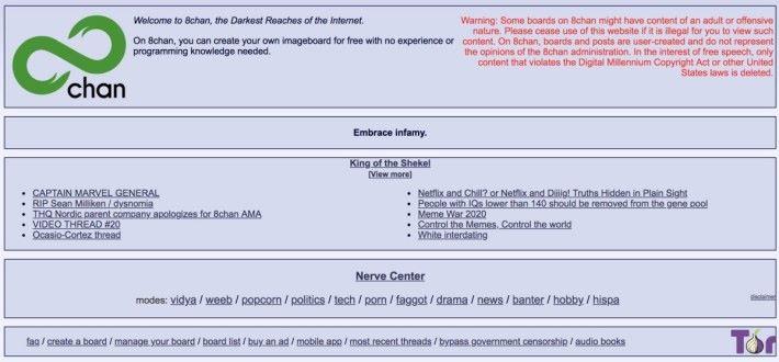 多宗槍擊案的槍手都曾在 8chan 貼文預告行兇,又有 8chan 的用戶將行兇的片段散佈出去,被 Cloudflare CEO Matthew Prince 形容為仇恨的污水池。