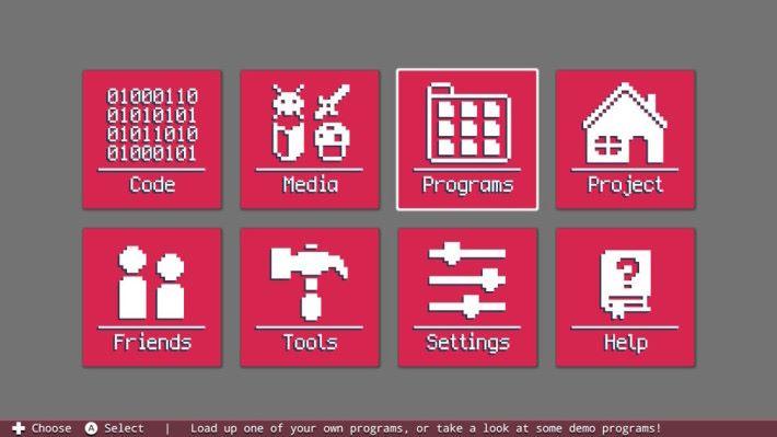 F4NS 主畫面有 8 個功能,初入手的話可以從 Help 開始,或者直接在 Program 裡看看示範遊戲。