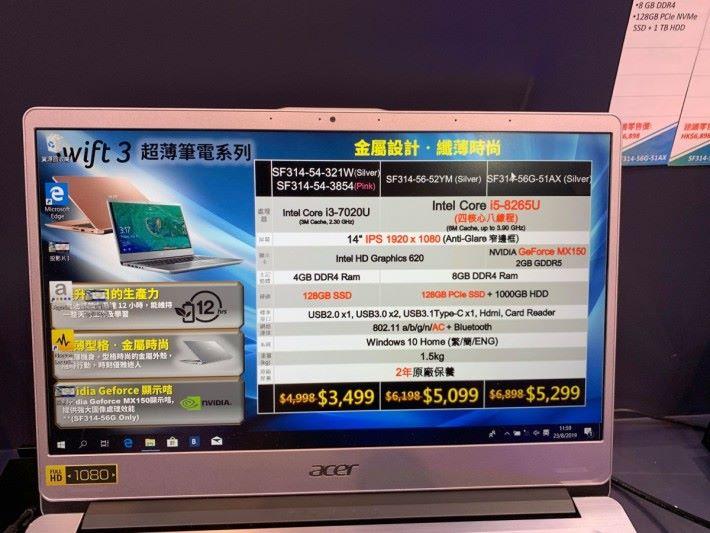 $5,299 有 8 代 i5 CPU 同 MX150 獨顯,8GB RAM 仲有 128GB SSD+ 1000 GB HDD ,抵玩!