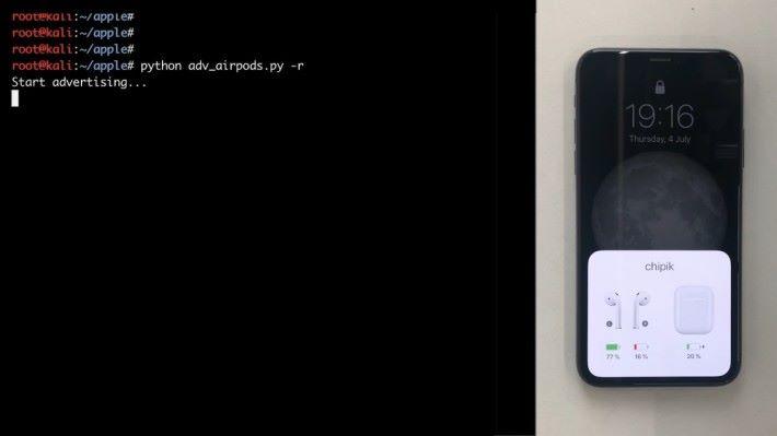 研究人員不單可以截取 AWDL資料,還可以發送 BLE資料觸發 iPhone 一些動作,例如扮演一對 AirPods 耳機,任意設定各耳機所餘電量。