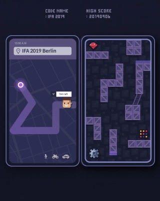 動畫暗示一款雙屏手機,當中的遊戲角色可以移動至另一程式,似在暗示跨程式資料交換應用。