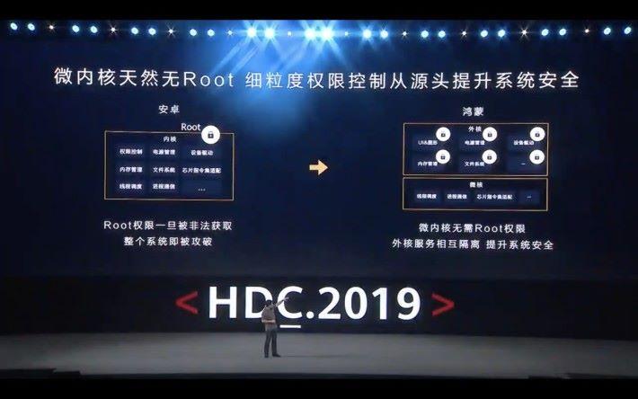 鴻蒙 OS 採用的微架構沒有 ROOT,外核服務互相隔離,提升系統安全。