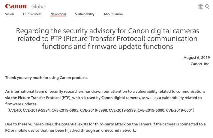 Canon 上周針對 PTP 漏洞發出公告,提示用戶小心連接相機到電腦及流動裝置。