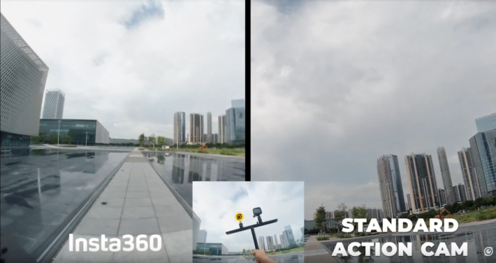 跟住仲跑住做拍片比較,圖中可見跑到斜晒,insta360 新機都好穩定同無歪斜。