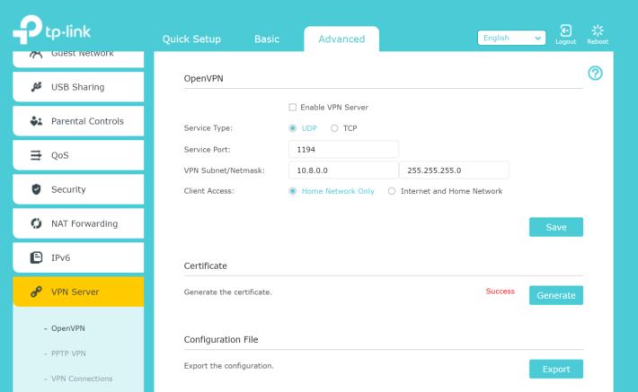 支援自建 OpenVPN 及 PPTP VPN Server。