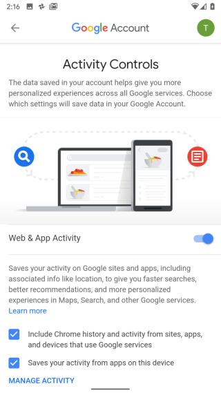 用戶可以決定是否讓 Google 保存紀錄