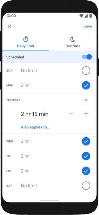 可以設定子女每日使用手機的時間