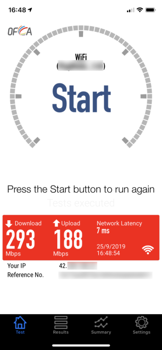沒有使用 WRAP 服務時,上傳速度達 188Mbps ,網絡延滯只有 7ms ;