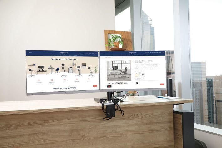 用戶甚至可以將畫面向外展示(180度轉),加強公司人與人的的溝通與聯系,自由度相當高。