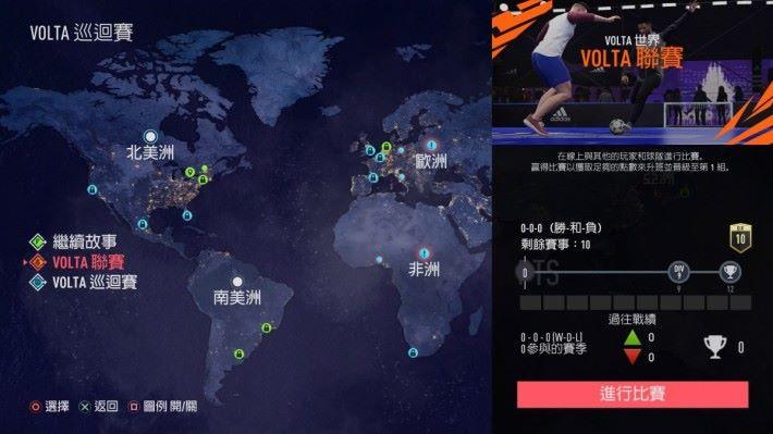 FIFA 20 VOLTA 世界可以故事,又或者線上對戰方式進行。