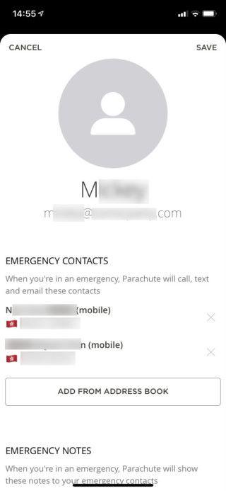 輸入名字、正確的電郵地址(需要電郵啟動)和設定緊急時的聯絡人,按右上角的 Save 儲存。