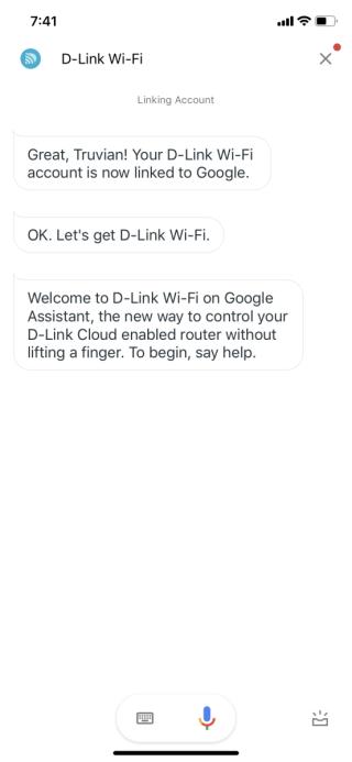 登入至 D-Link 帳戶後,就會跳轉至 D-Link 的對話頁面。