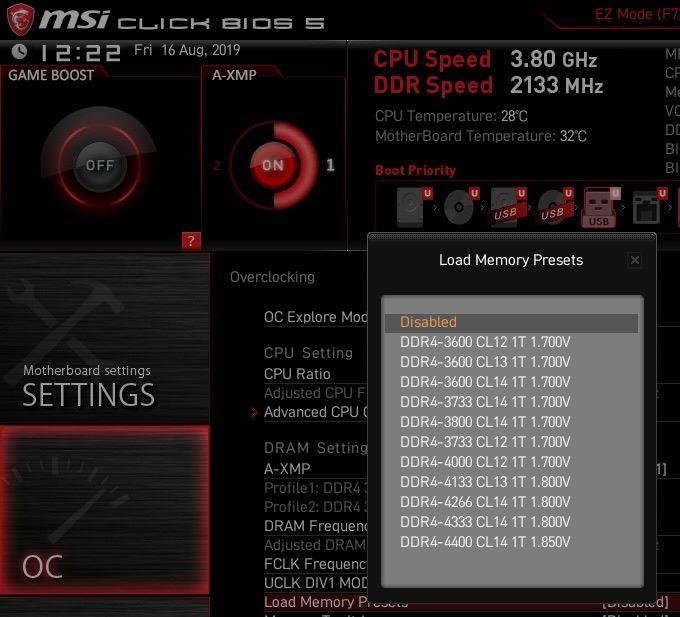 提供多組超頻 Memory Presets 選擇。