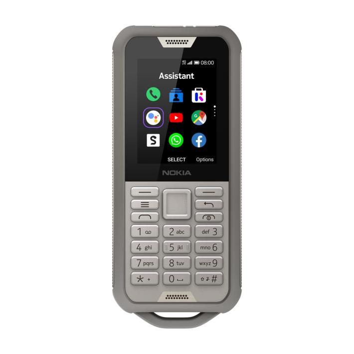 Nokia 800 Tough 三防手機具 IP68 規格及 MIL-STD-810 軍規標準的防撞機身,實體按鍵設計。
