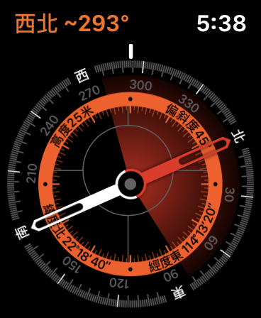 Apple Watch Series 5 新加入的指南針功能,可以不用連接 iPhone 獨立使用。反應也相當之快。